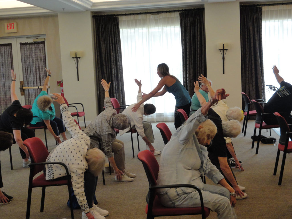 Sulekha teaching a class at Seniors National Health and Fitness Day